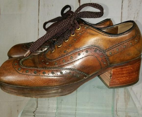 187463366de0 Men s women s 70s brown oxford platform shoe 7M 8W.  M 5b357bef2beb7941685439cf